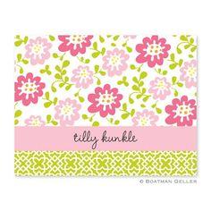 Boatman Geller Block Meadow Pink Foldover Note Card ($62 for 25)