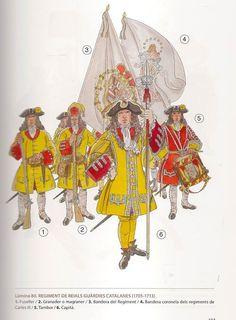 """Reials Guàrdies Catalanes. Guàrdia personal del Rei Carles III d'Àustria. (1705-1713). En el període de la """"Guerra dels Catalans"""" del 1713-1714 es reanomenà com a Rg. del Roser. https://www.facebook.com/photo.php?fbid=470397633090631"""