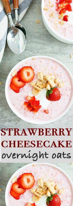 strawberry cheesecake overnight oats | overnight oats recipes | strawberry breakfast recipes | easy strawberry recipes | simple overnight oats | easy overnight oats | strawberry overnight oats | easy breakfast ideas | strawberry cheesecake