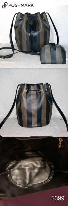 Gray Stripes Bucket Bags w//Genuine Leather Trim Personalized Front Large
