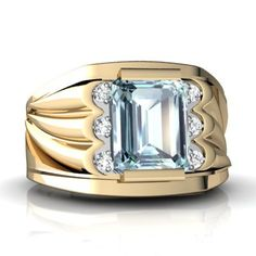 Make a bold statement with this popular, handsome, and masculine men's ring. The ring features a large and brilliant emerald cut gemstone of your choice, surrounded by six dazzling diamonds, all set in a sturdy band with a very stylish design. A perfect gift for that special someone in your life, to whom you would like to remind of your love.
