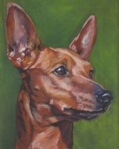 red Miniature Pinscher CANVAS art print of LA by TheDogLover, $39.99