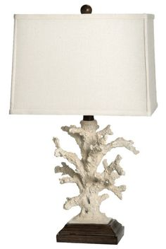 """Natural Ivory Coral Table Lamp Polystone Off-White Linen Brown. Horrible proportions but looks like exactly the""""coral"""" I found at Target"""