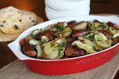 A Classic Irish Stew made with Potatoes, Bacon, Pork Sausages and Onions - Dublin Coddle
