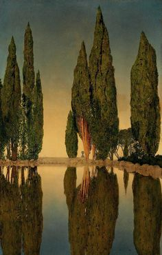 Maxfield Parrish (1870-1966). The Reservoir at Villa Falconieri, Frascati, 1903, oil on canvas, 28 x 18 in. (71.1 x 45.7 cm). http://www.christies.com/lotfinder/paintings/maxfield-parrish-the-reservoir-at-villa-falconieri-5315159-details.aspx