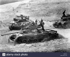 Three Centurion Tanks Of The British Army Drive Across An Obstacle Stock Photo, Royalty Free Image: 56889040 - Alamy