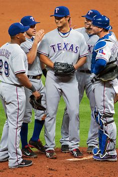 Yu Darvish had plenty of support behind him, but all he needed to carry the Rangers against the Astros was his own magnificent effort. Mlb Texas Rangers, My Rangers, Rangers Baseball, Baseball Players, Sports Baseball, Baseball Pants, Baseball Stuff, Perfect Game, Minor League Baseball