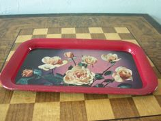 Vintage Enameled Metal Serving Tray Roses 1950s Cottage
