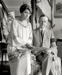 Calvin Coolidge and Grace Coolidge Washington, DCAugust 4th, 1923.  Two days after becoming president due to the death of Warren Harding (hence the black mourning band.)