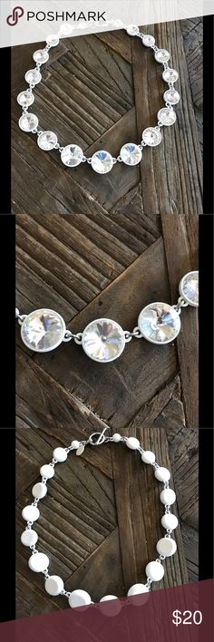 """Ann Taylor necklace I call this a headlight necklace!  Bright cut crystals that give you a bling!!  Toggle clasp and 19""""!  Brightens any outfit! Jewelry Necklaces"""