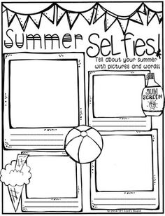 """I hope your students enjoy telling about """"themselfies"""" at the beginning of the school year! Find more Back to School resources from my store here! Beginning Of The School Year, Last Day Of School, Too Cool For School, School Fun, School Ideas, All About Me Activities, Back To School Activities, School Resources, Writing Activities"""