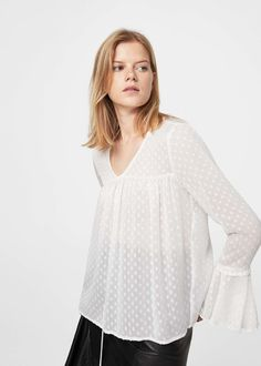 Ruffled plumeti blouse - Woman | MANGO United Kingdom