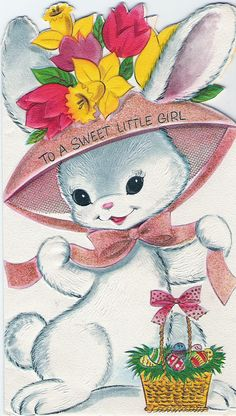 vintage card - adorable bunny wearing a pink bonnet
