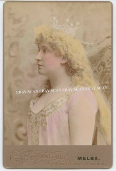 OPERA SOPRANO NELLIE MELBA ANTIQUE COLOR CABINET CARD PHOTO BY DAVIS SANFORD