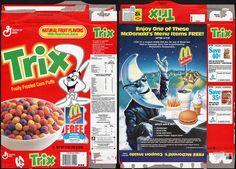 General mills cereal boxes | General Mills - Trix - McDonalds Mac Tonight - cereal box - 1990 - a ...