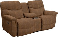 James La-Z-Time® Full Reclining Loveseat with Middle Console -- maybe a tad darker brown ... but THIS this is what I've been looking for!!! #EmptyNester #NowICanHaveNiceThings #Wishlist