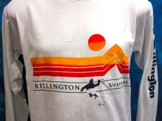 vintage 80s KILLINGTON VERMONT SKI SUNSET L/S T-Shirt MEDIUM surf mountain thin