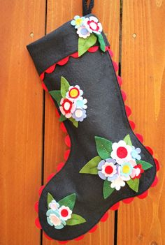 Wool Felt Floral Christmas Stocking