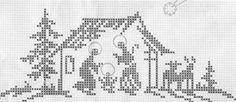 Elizabeth Christianini uploaded this image to 'Croche/Crochet Filet - Religiosos'. See the album on Photobucket. Xmas Cross Stitch, Cross Stitch Pillow, Cross Stitching, Cross Stitch Embroidery, Crochet Cross, Filet Crochet, Cross Stitch Designs, Cross Stitch Patterns, Nativity Crafts