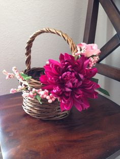 Purple Pink Flower Girl Basket, beautiful floral piece for weddings, Easter, Sweet 16 or even as a lovely center piece in your home. Thali Decoration Ideas, Basket Decoration, Handmade Decorations, Wedding Gift Baskets, Wedding Gift Wrapping, Wedding Gifts, Candy Bouquet Diy, Basket Crafts, Flower Girl Basket