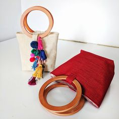 Wooden Handle Bag, Wooden Handles, Craft Bags, Diy Bags, Diy Pencil Case, Potli Bags, Yarn Bag, Fabric Bags, Little Bag
