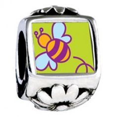 Bumblebee Photo Flower Charms  Fit pandora,trollbeads,chamilia,biagi,soufeel and any customized bracelet/necklaces. #Jewelry #Fashion #Silver# handcraft #DIY #Accessory