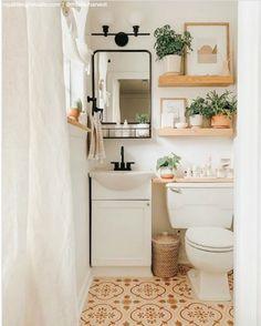 Tiny Bathrooms, Small Bathroom Ideas, Modern Vintage Bathroom, Cozy Bathroom, Rental Bathroom, Bathroom Plants, Bathroom Wall Art, Remodel Bathroom, Budget Bathroom