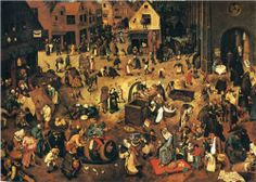 Pieter Bruegel the Elder (Flemish: 1525-1569) | The Fight between Carnival and Lent - Pieter Bruegel the Elder