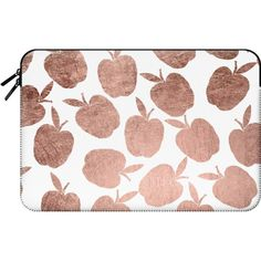 Rose gold apples pattern back to school by Girly Trend - Macbook... ($60) ❤ liked on Polyvore featuring accessories, tech accessories, bags, fillers and macbook sleeve