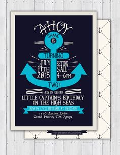 Nautical birthday Invitation  Ahoy anchor Sailboat by LyonsPrints