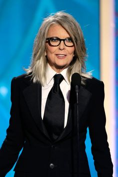Diane Keaton's Foxy Silver Hair ranges in color from dark silver to moonbeam white. #GoldenGlobes