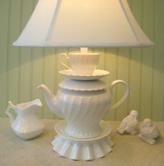 Teapot Lamp, White Swirled Pattern Teapot, Tea Cup and Saucer, Alice in Wonderland Shabby Chic Country Beach Cottage
