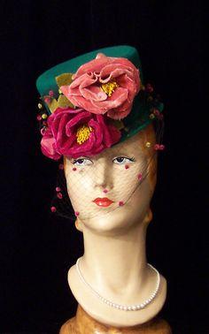 Vintage HUGE Magenta Pink Velvet ROSES Dotted Veil Kelly Green Tilt Top Hat 30s 40s WWII Pin Up Free Shipping. $249.99, via Etsy.