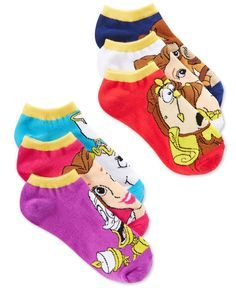 Your favorite Disney characters from Beauty and the Beast make a cameo appearance in this six-pack of women's assorted ankle socks. Collect them all, from Planet Sox. | Polyester/spandex | Machine was