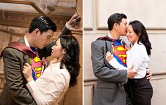 Movie Themed Engagement Photo Session:  Superman http://thingsfestive.blogspot.com/2012/07/movie-themed-engagement-photo-sessions.html