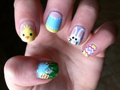 Easter nail art by LookAtHerNails Painted Nail Art, Hand Painted, Nail Manicure, My Nails, Easter Nail Art, Happy Easter Everyone, Finger Nail Art, Holiday Nail Art, Nail Wraps