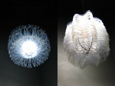 Ethereal pendant lamps are both inspired by plants and made of six-pack rings hung from plastic take-out lid frames. The lamps are lit with LEDs, so they emit nearly zero heat and last a long time! Plastic Bottle Art, Recycle Plastic Bottles, How To Make Light, How To Make Beads, Diy Recycle, Reuse, Ring Crafts, Crafts For Kids To Make, Branding