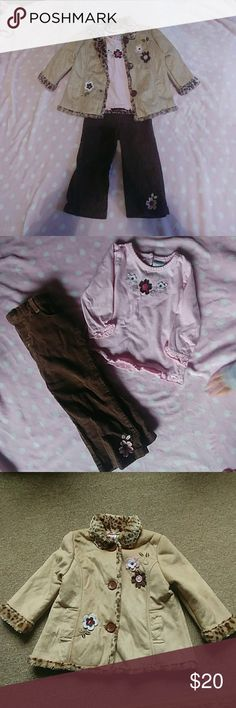 Young hearts 24 month girl outfit This cute little outfit consists of a pink long sleeve shirt with flowers on it buttons of the back of neck area. The pants have a button on the front and are brown corduroy with flower accent on bottom of the leg. The jacket is warm but not super thick it has leopard print on the inside with light brown color on the outside with flower accents. As with all my items it comes from a smoke free home. This item was very well kept no stains or holes. Young…