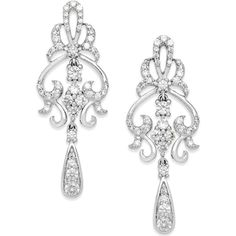 Wrapped in Love Diamond Vintage Dangle Earrings in 14k White Gold (1... ($1,764) ❤ liked on Polyvore featuring jewelry, earrings, accessories, jewelry-earrings, white gold earrings, long diamond earrings, white gold diamond earrings, drop earrings e vintage diamond earrings