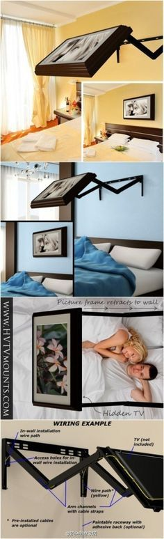 Hidden wall mounted TV. Genius! Not only hides the tv, but would be easier on your neck when laying in bed.