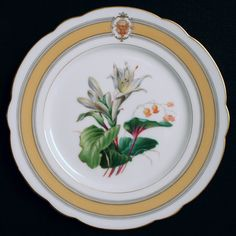 """Ulysses S. Grant was the 18th President of the United States (1869–1877).  When he and Mrs. Grant moved in the Executive Mansion in March 1869, Mrs. Grant began at once to renovate to her own taste. When the state dinner china arrived, it consisted of 587 pieces using 24 different hand-painted flowers and a top center logo known as the """"coats of arms"""". (9.25"""" State Dinner plate)."""