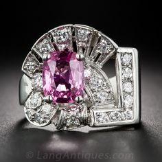 Pink Sapphire, Platinum & Diamond Art Deco Ring