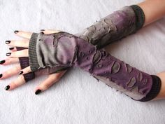 Arm Warmers:  Zombie, Walking Dead, Fingerless Gloves,  Purple, Cement gray, Gothic, Punk, Kelly Special. $19.95, via Etsy. :D
