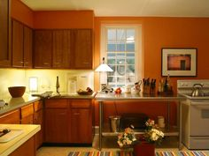 Decorating with warm rich colors paint colors pumpkins for Cheap basic kitchen units