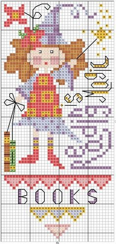 Cross-stitch Reading is Magic Bookmark... no color chart available, just use the pattern chart as your color guide.. or choose your own colors...    100%_ponto_cruz bookmark