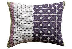 One Kings Lane - Downstairs - Clee 17x14 Pillow, Purple/Multi