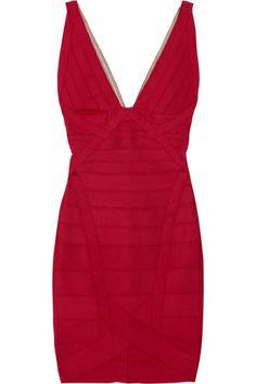 Herve Leger V-neck Bold Red Bandage Dress   $319.00