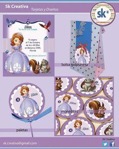 Diseño de Tarjeta invitacion, golosinas y souvenir de Princesita Sofia