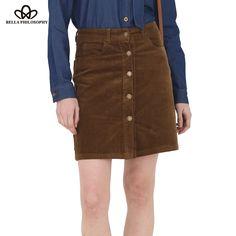 autumn winter new corduroy slim high-waist women khaki A line skirt buttons up