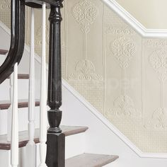Anaglypta dado Panel Wallpaper - Oriental elaborate design with Eastern inspiration and features a floral panelled effect for a timeless look. Wallpaper Stairs, Striped Wallpaper, Wallpaper Panels, Vinyl Wallpaper, Wallpaper Designs, Wallpaper Direct, Paintable Textured Wallpaper, Embossed Wallpaper, Antique Wallpaper